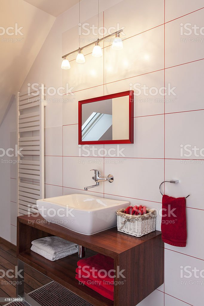 Ruby house - Red and white bathroom stock photo