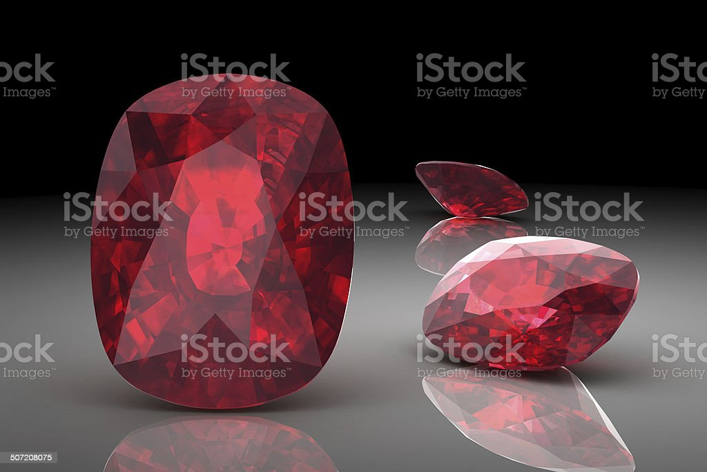Ruby or Rodolite gemstone (high resolution 3D image) royalty-free stock photo