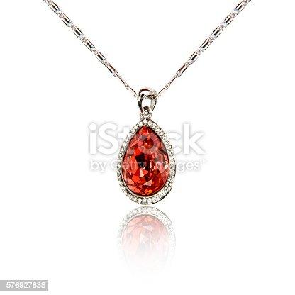 Ruby pendant isolated on white background