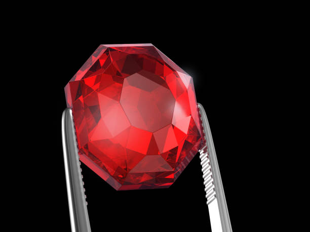 ruby seen close up with tweezers, 3d illustration - defects stock pictures, royalty-free photos & images