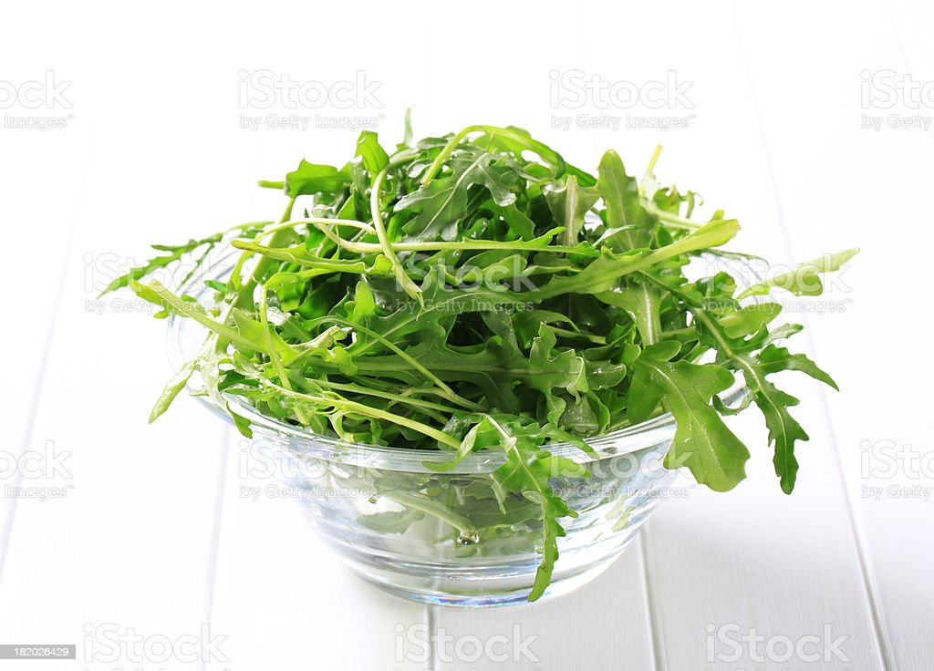 Ruccola in a bowl stock photo