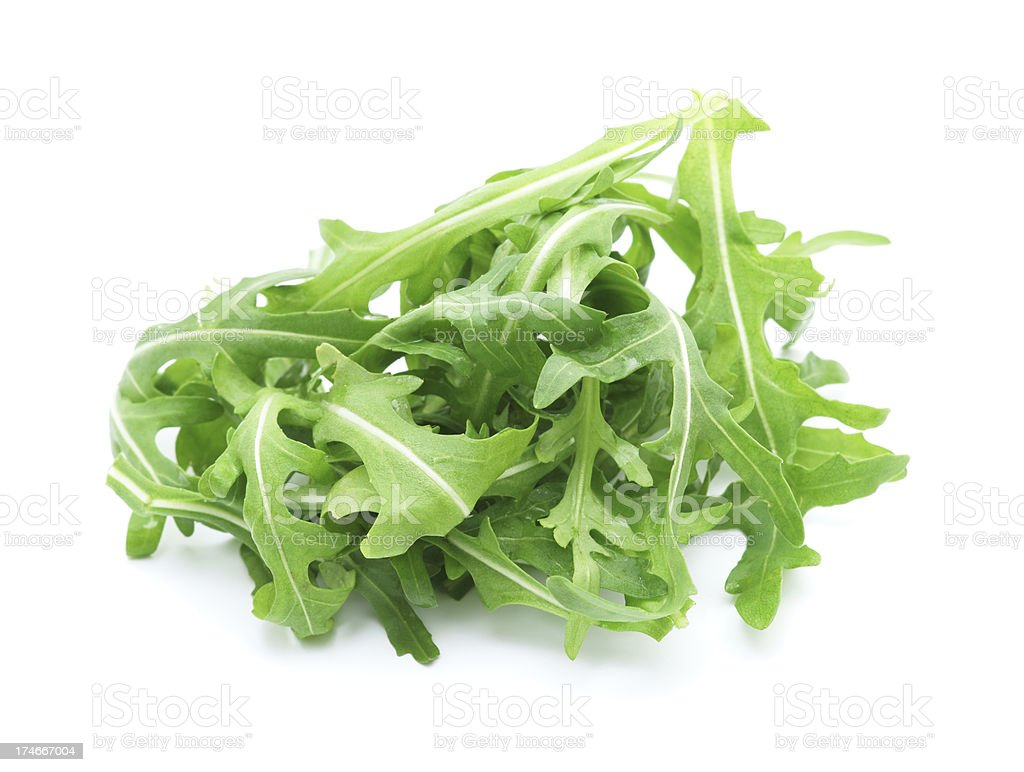 Rucola leaves isolated on white royalty-free stock photo