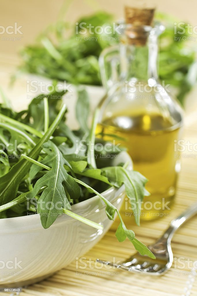 Rucola Salad And Oil royalty-free stock photo