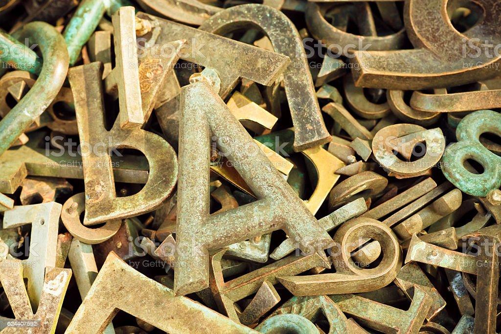 Ructic alphabet letters and keystrokes from old metal stok fotoğrafı