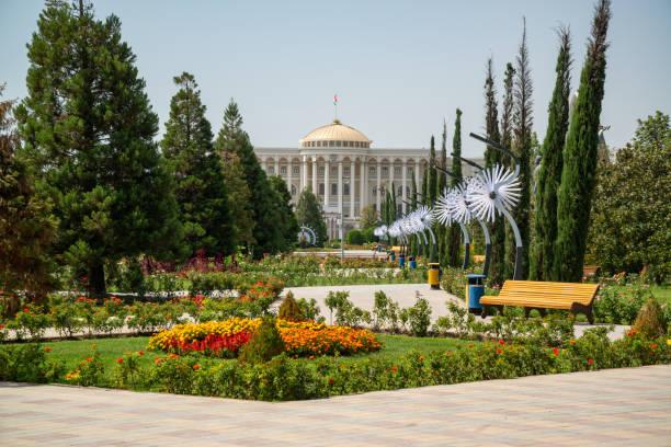 Rudaki park and National Library, Dushanbe, Tajikistan stock photo