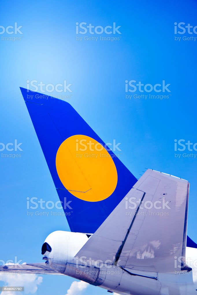 Rudder and Trim Tabs of an Aircraft stock photo