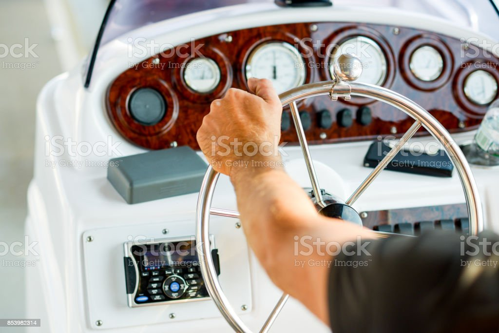 rudder boat, boat management and vessel navigation stock photo