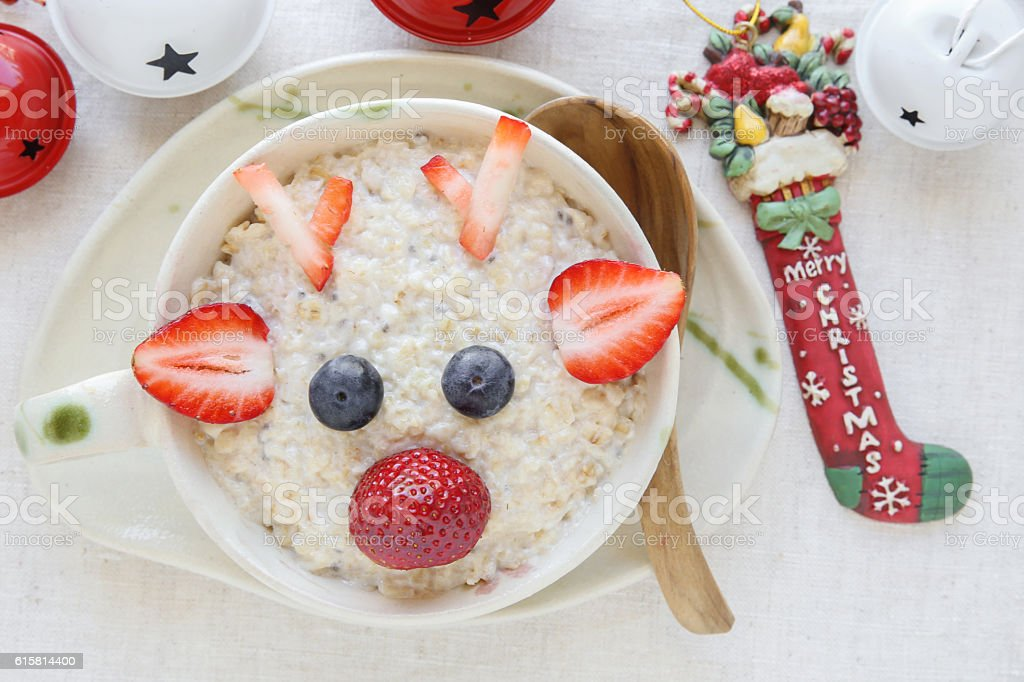 Rudolph The Red Nosed Reindeer porridge oatmeal breakfast , Fun stock photo