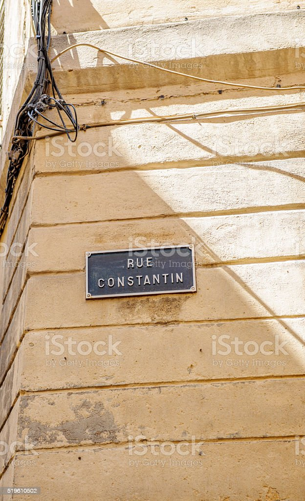 Rue Constantion or Constantin street sign stock photo