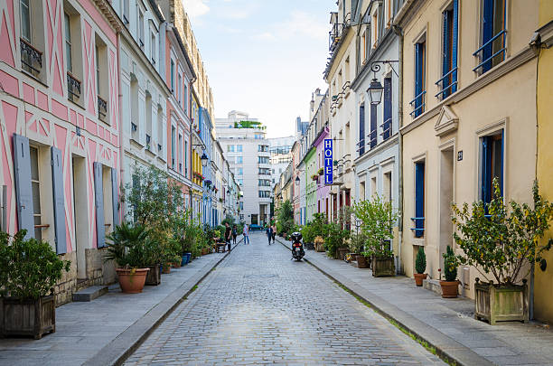 Rue Cremieux in Paris, France stock photo