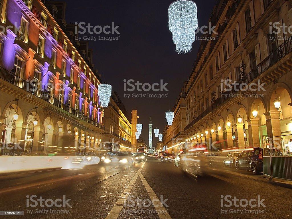 Rue de Castiglione during Christmas royalty-free stock photo