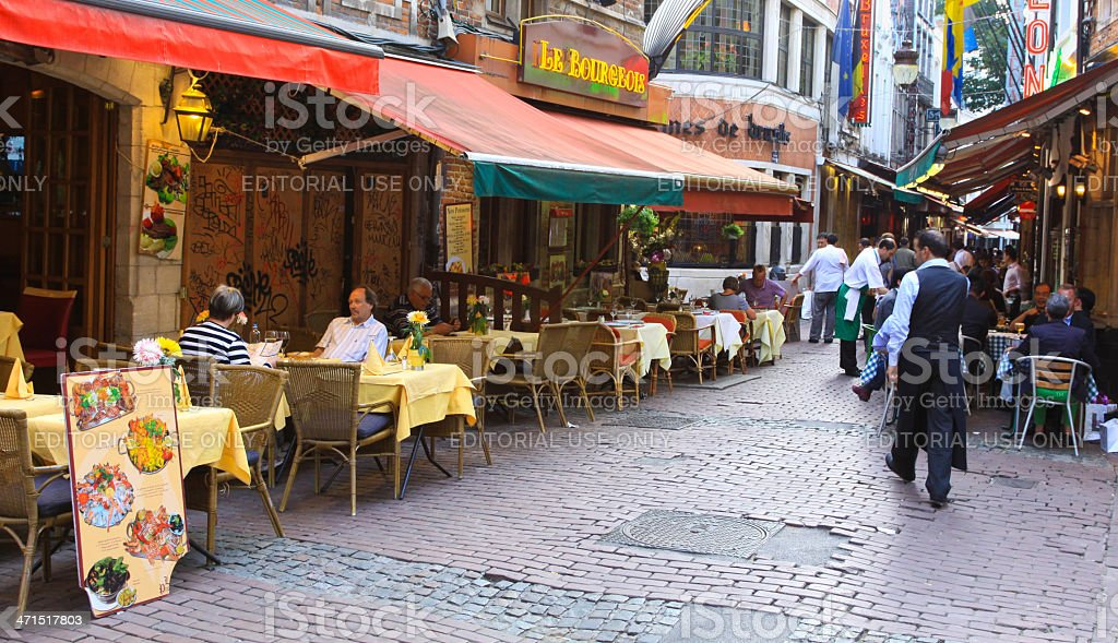 Rue de la Fourche lined with restaurants, Brussels. royalty-free stock photo