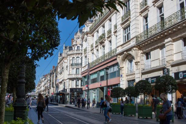 rue de la république in orléans, france - république photos et images de collection