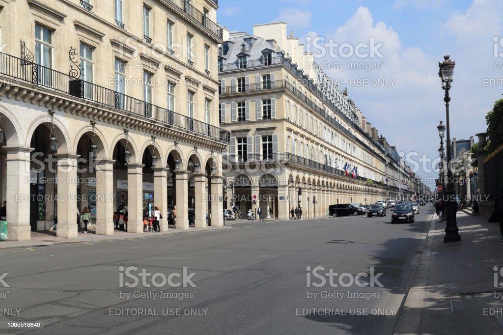 Rue de Rivoli in Paris, France stock photo