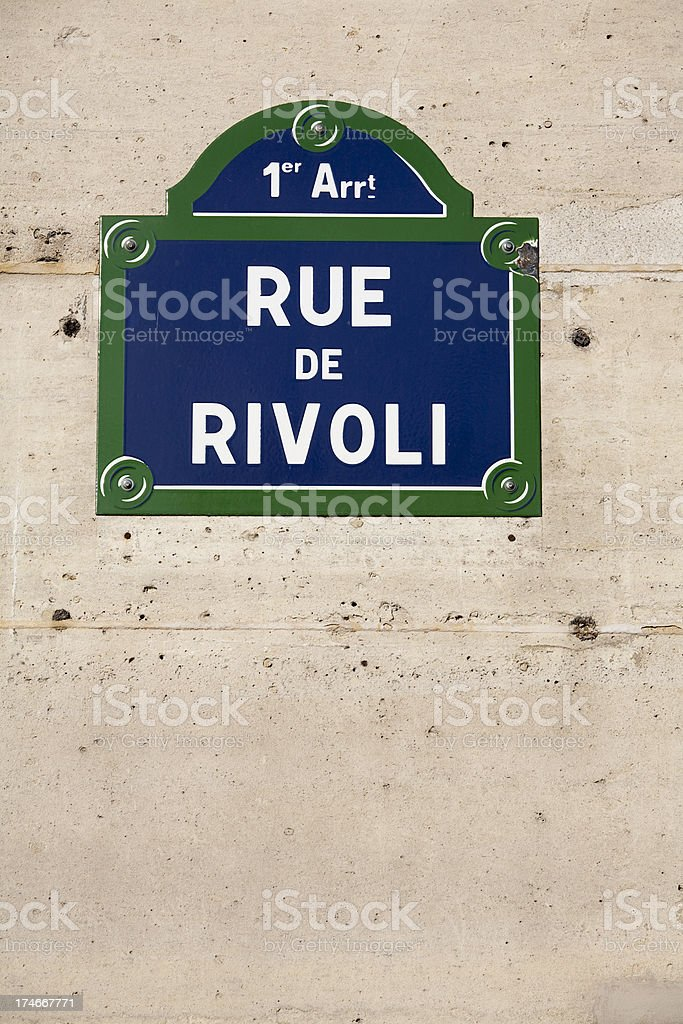 Rue de Rivoli Paris Street Sign royalty-free stock photo