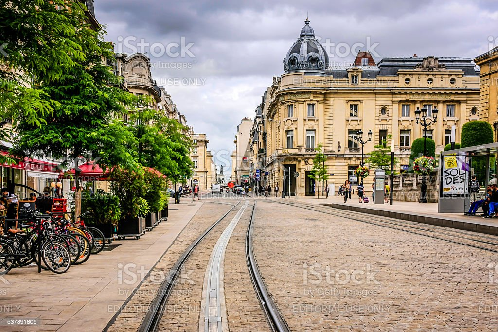 Rue des Vesle in Reims France stock photo