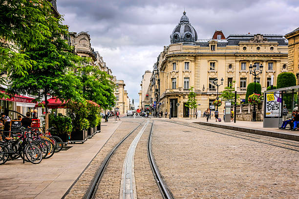 Rue des Vesle in Reims France stock photo