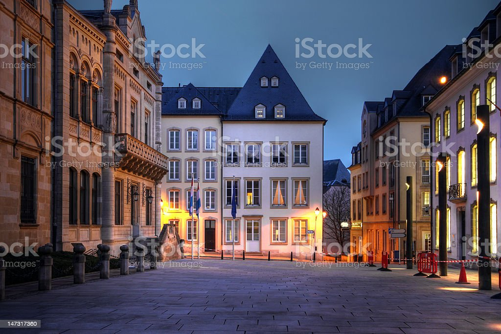 Rue du Marche-aux-Herbes, Luxembourg city stock photo