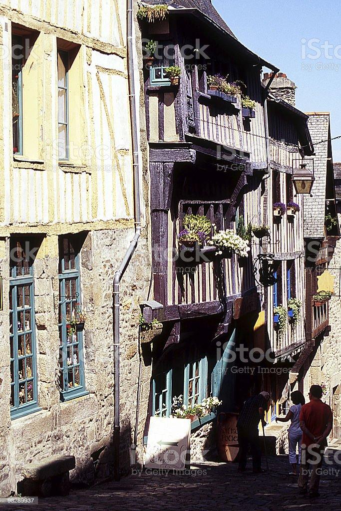 Rue du Petit Port, Dinan, Brittany, France royalty-free stock photo