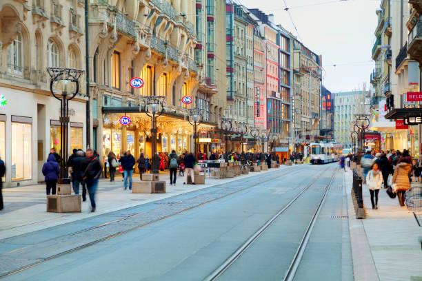 Rue du Rhone in Geneva, Switzerland stock photo