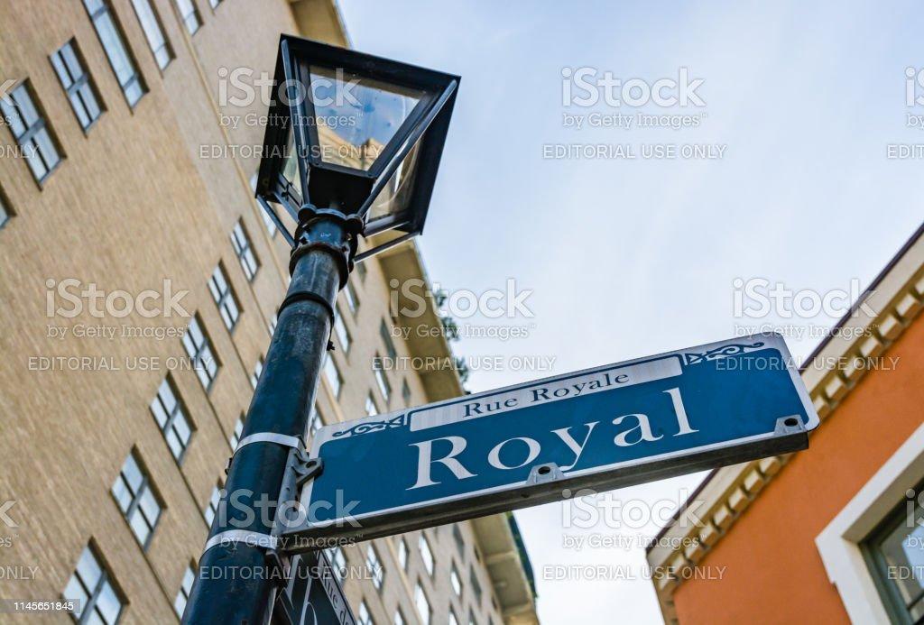New Orleans, Louisiana, USA - February 5, 2017: Rue Royal street sign...