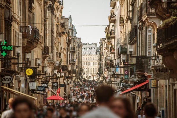 Rue Sainte-Catherine in Bordeaux, France stock photo