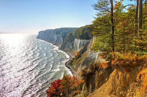 Ruegen chalk cliffs in autumn