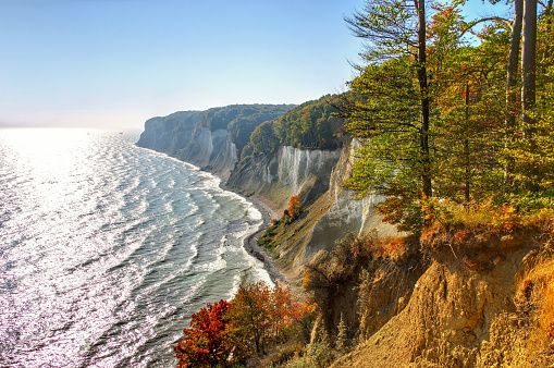 Ruegen chalk cliffs in autumn