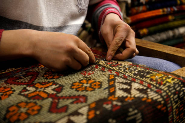 Rug repairs Old rug repair anatolia stock pictures, royalty-free photos & images