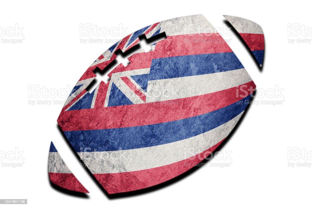 Bandeira do estado de Havaí da bola de rugby. Bandeira de Havaí fundo bola de Rugby - foto de acervo