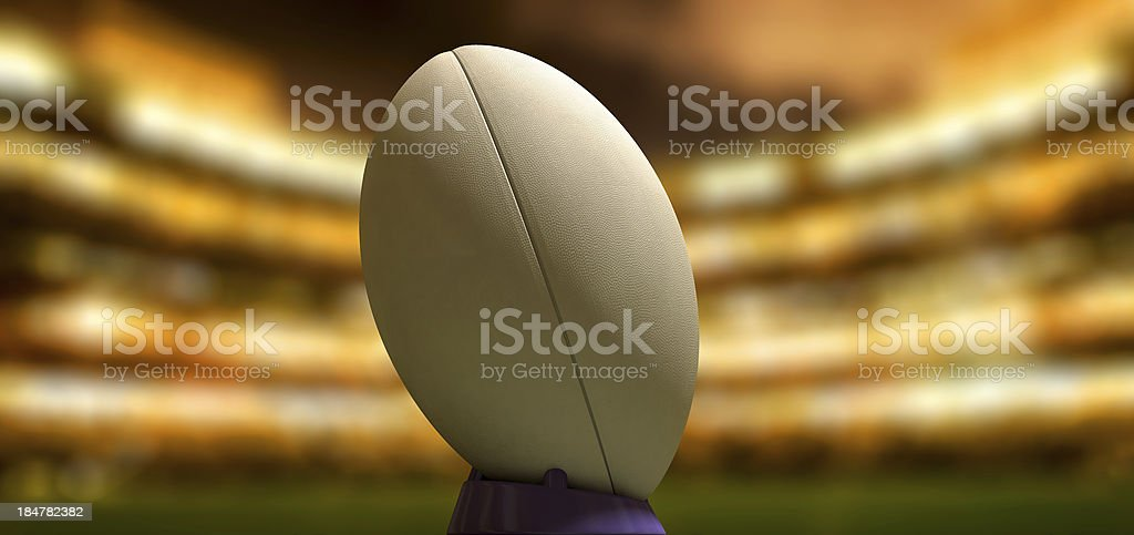 Rugby Ball In A Stadium Night stock photo