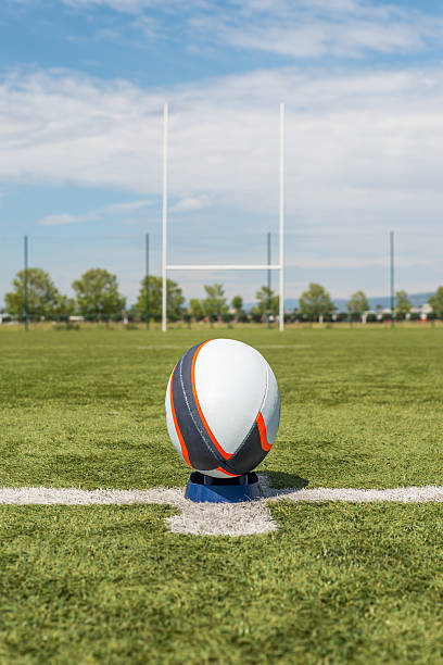 rugby ball in front of the pole. - rugby ball stock photos and pictures