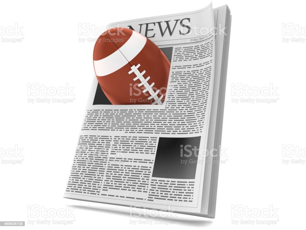 Rugby ball inside newspaper stock photo