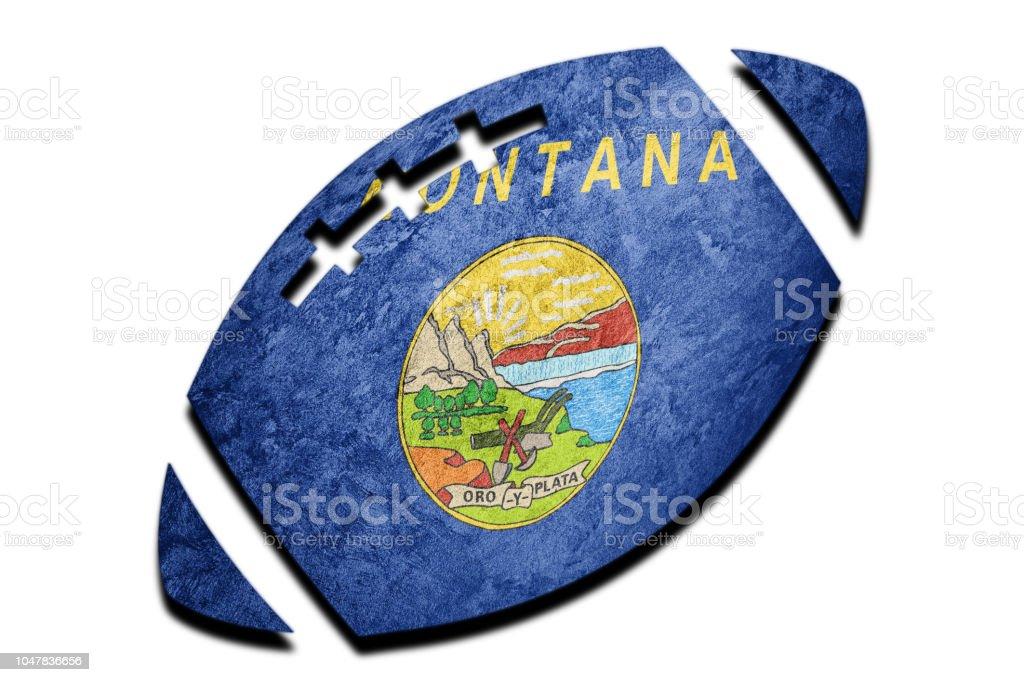 Bola de Rugby bandeira do estado de Montana. Bandeira de Montana fundo bola de Rugby - foto de acervo