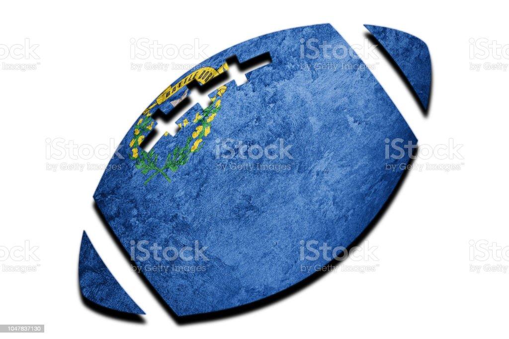 Bola de Rugby bandeira do estado de Nevada. Bandeira de Nevada fundo bola de Rugby - foto de acervo
