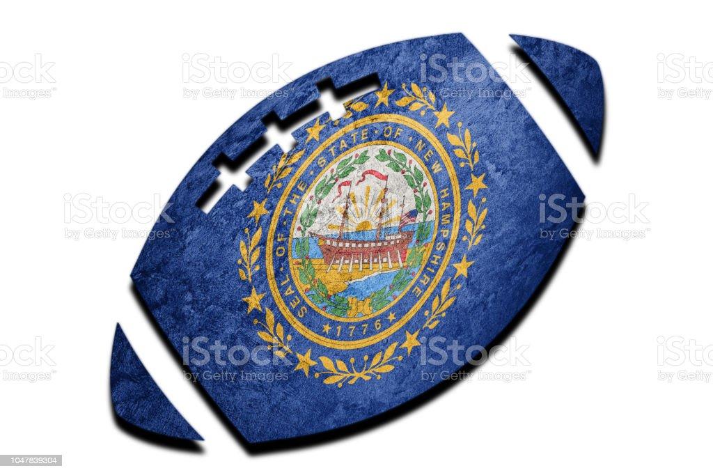 Bola de Rugby bandeira do estado de New Hampshire. Bandeira de Nova Hampshire fundo bola de Rugby - foto de acervo