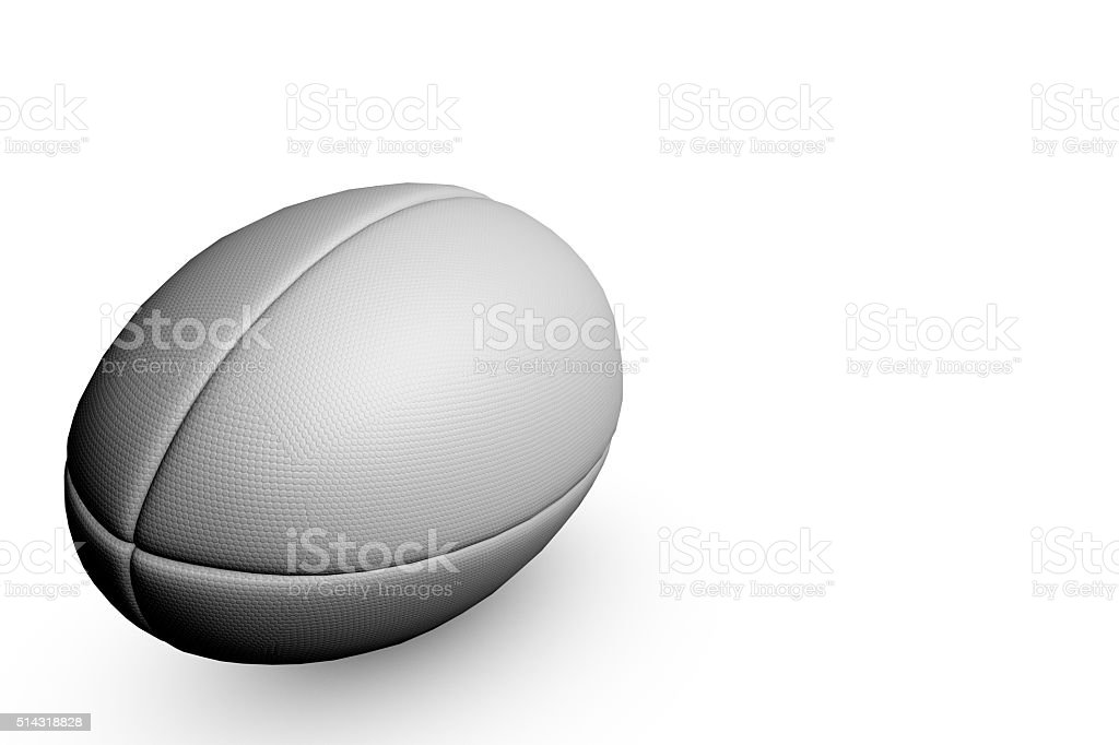 Rugby ball on a plain white background stock photo