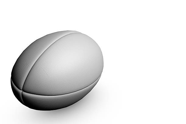 rugby ball on a plain white background - rugby ball stock photos and pictures