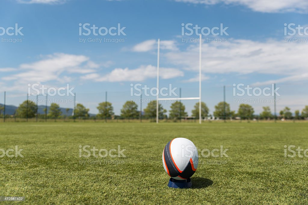 rugby ball on the field. stock photo