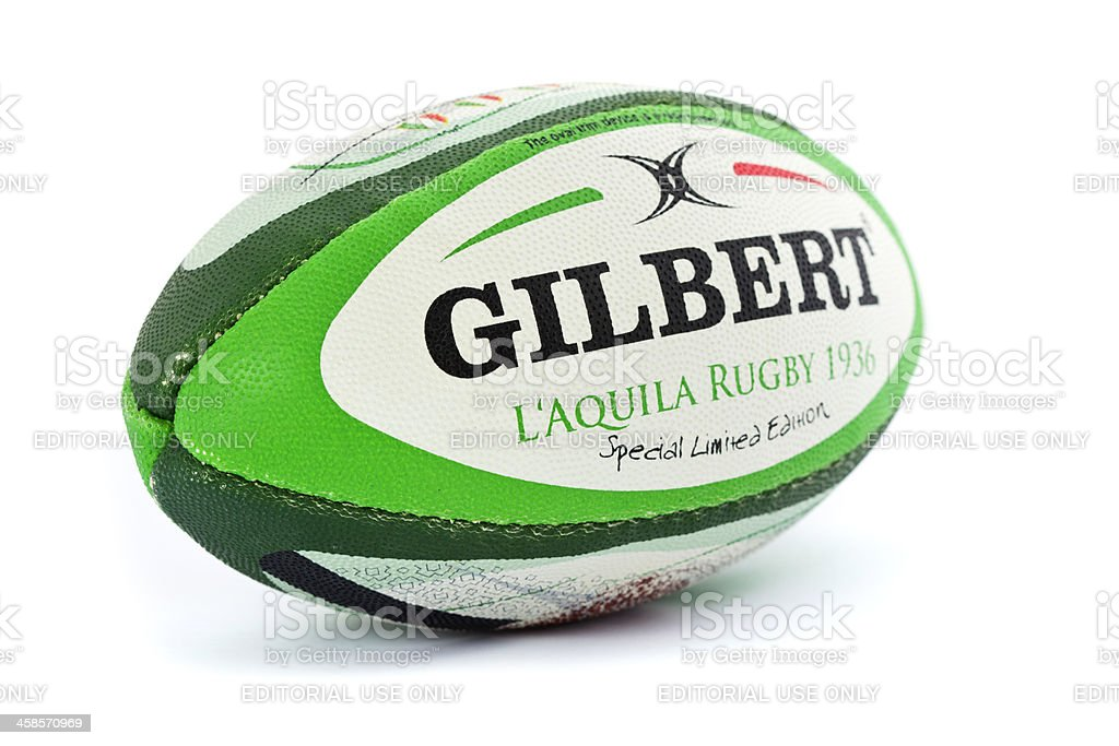 Rugby ball on white background stock photo