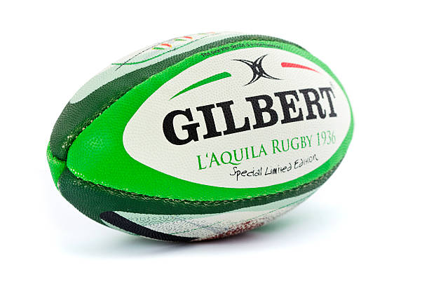 rugby ball on white background - rugby ball stock photos and pictures