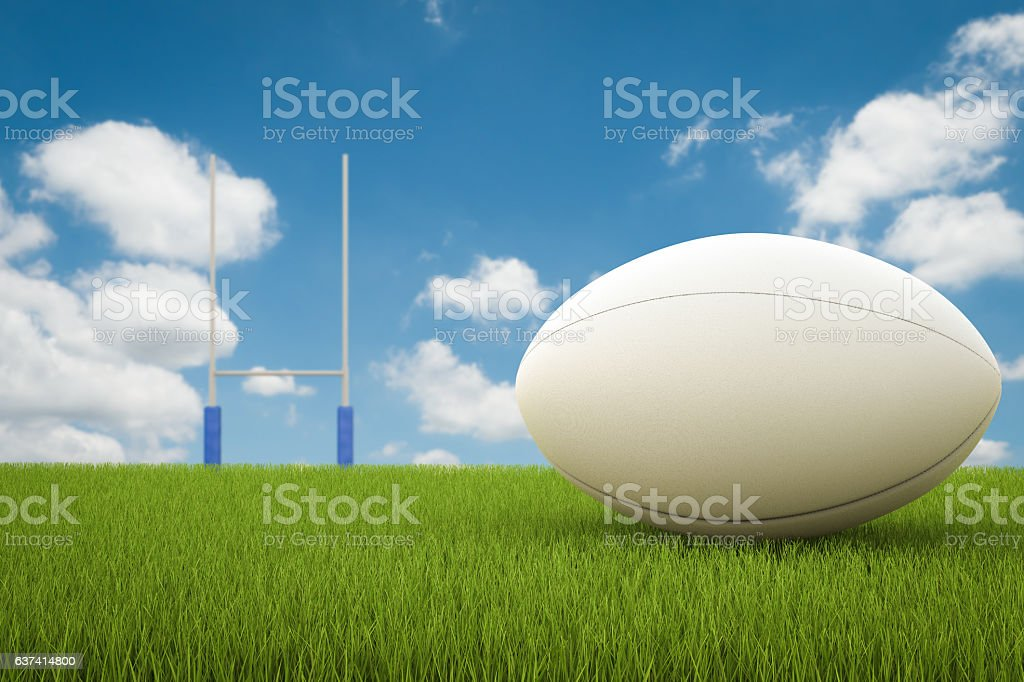 rugby ball with rugby posts stock photo