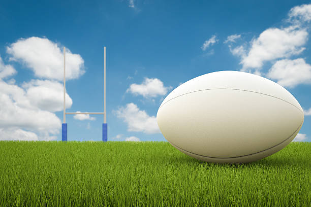 rugby ball with rugby posts - ballon de rugby photos et images de collection