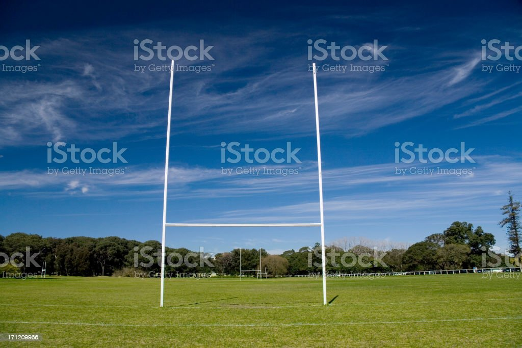 Rugby field ahead stock photo