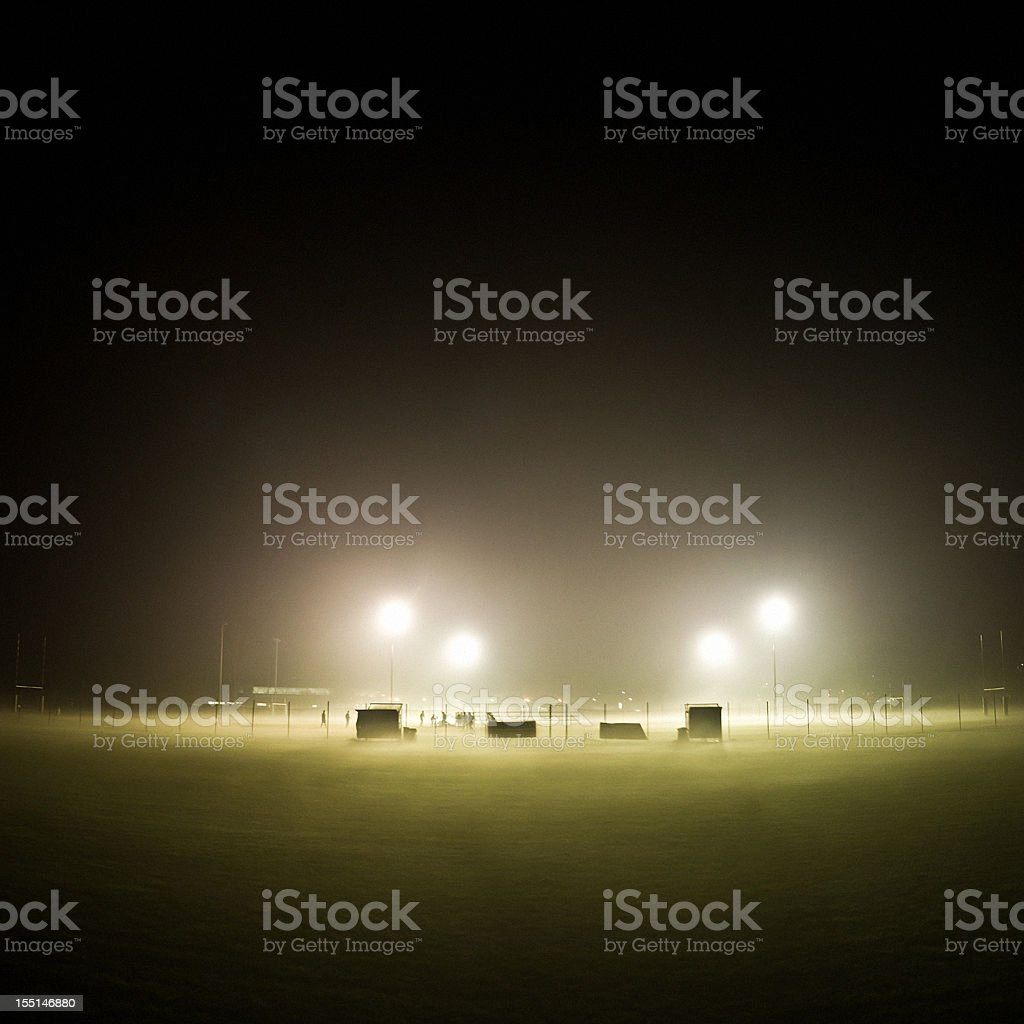Rugby Field in the Fog stock photo