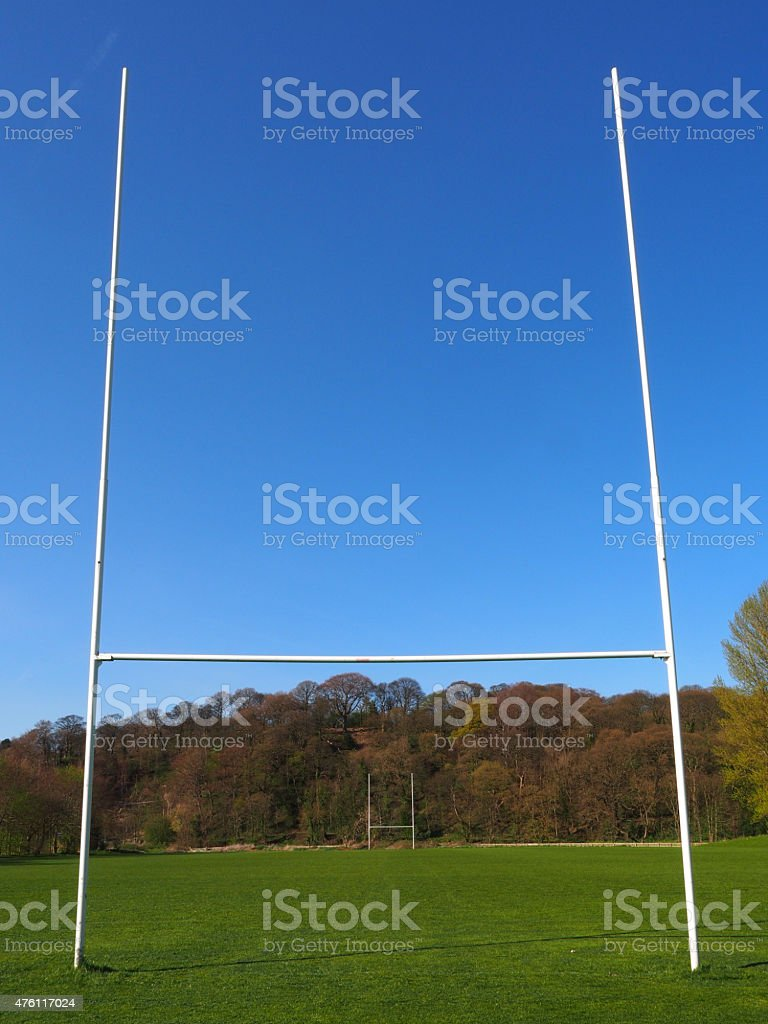The goal posts on a rugby pitch
