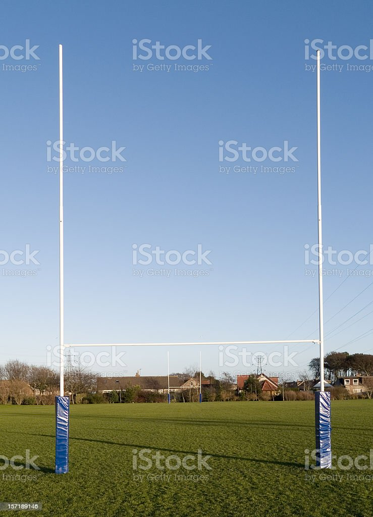 Rugby goalpost in park stock photo