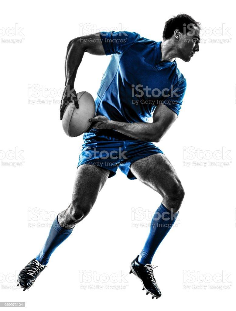 分離されたラグビー男選手シルエット ストックフォト