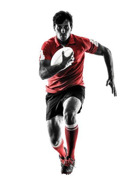 silueta de jugador rugby hombre aislado - rugby fotografías e imágenes de stock