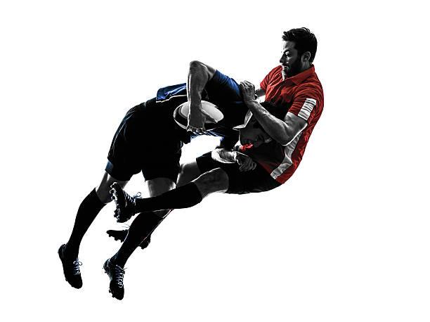 ラグビー選手シルエットの男性 - ラグビー ストックフォトと画像